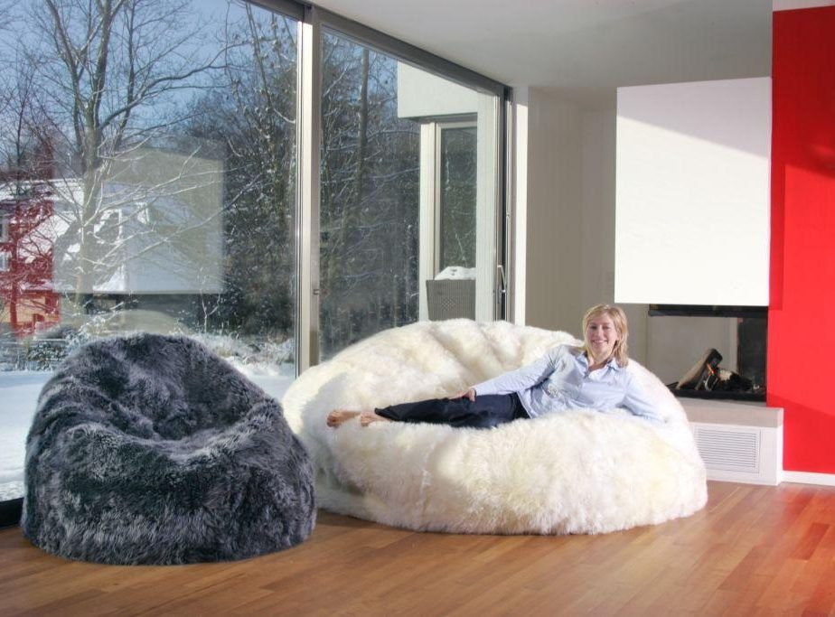 Sheepskin Bean Bag Chair Cover Large Jumbo Designer Colors