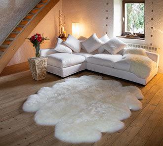 6 pelt sheepskin rug in ivory