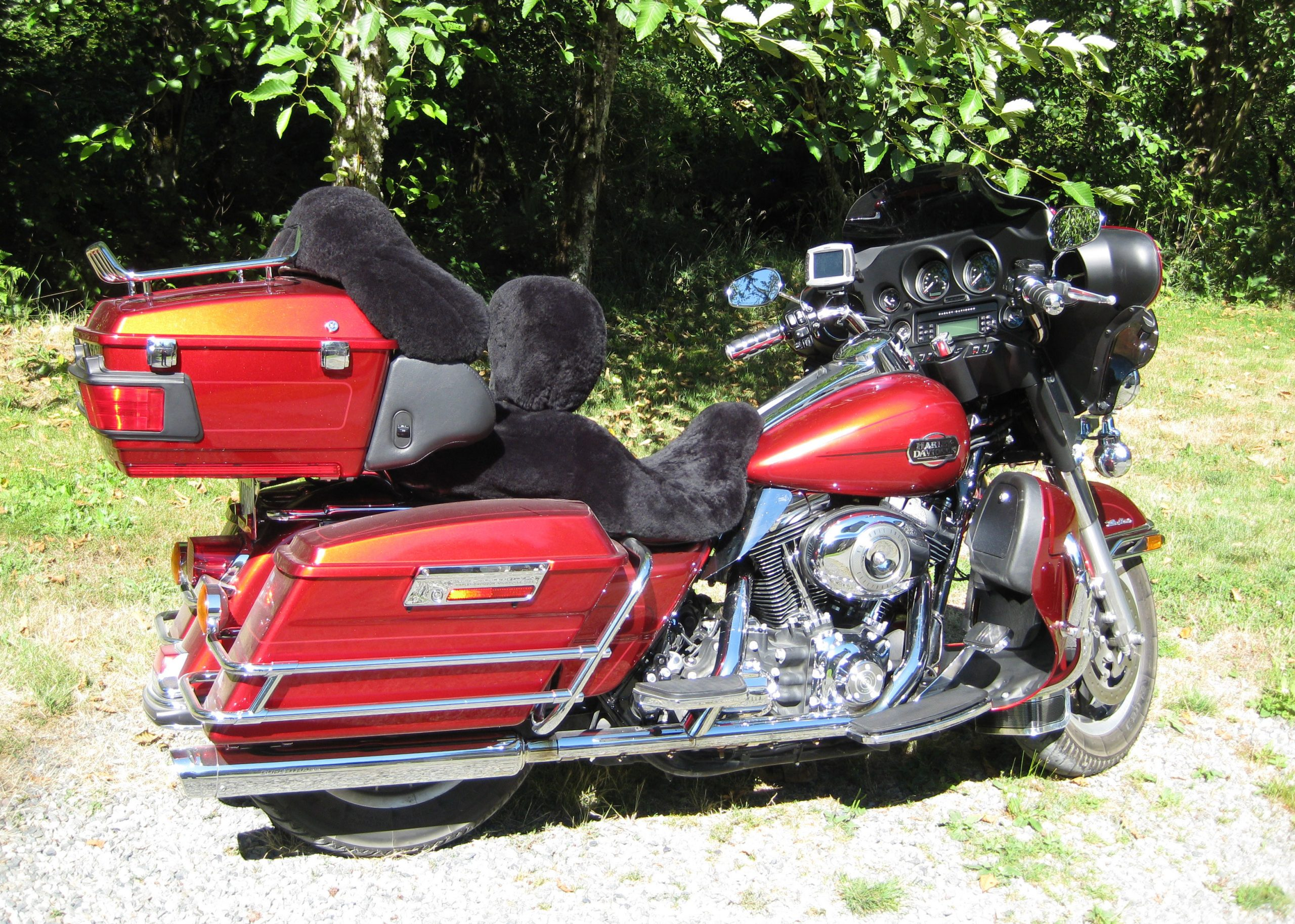 Harley Motocycle Sheepskin Seat Covers Black