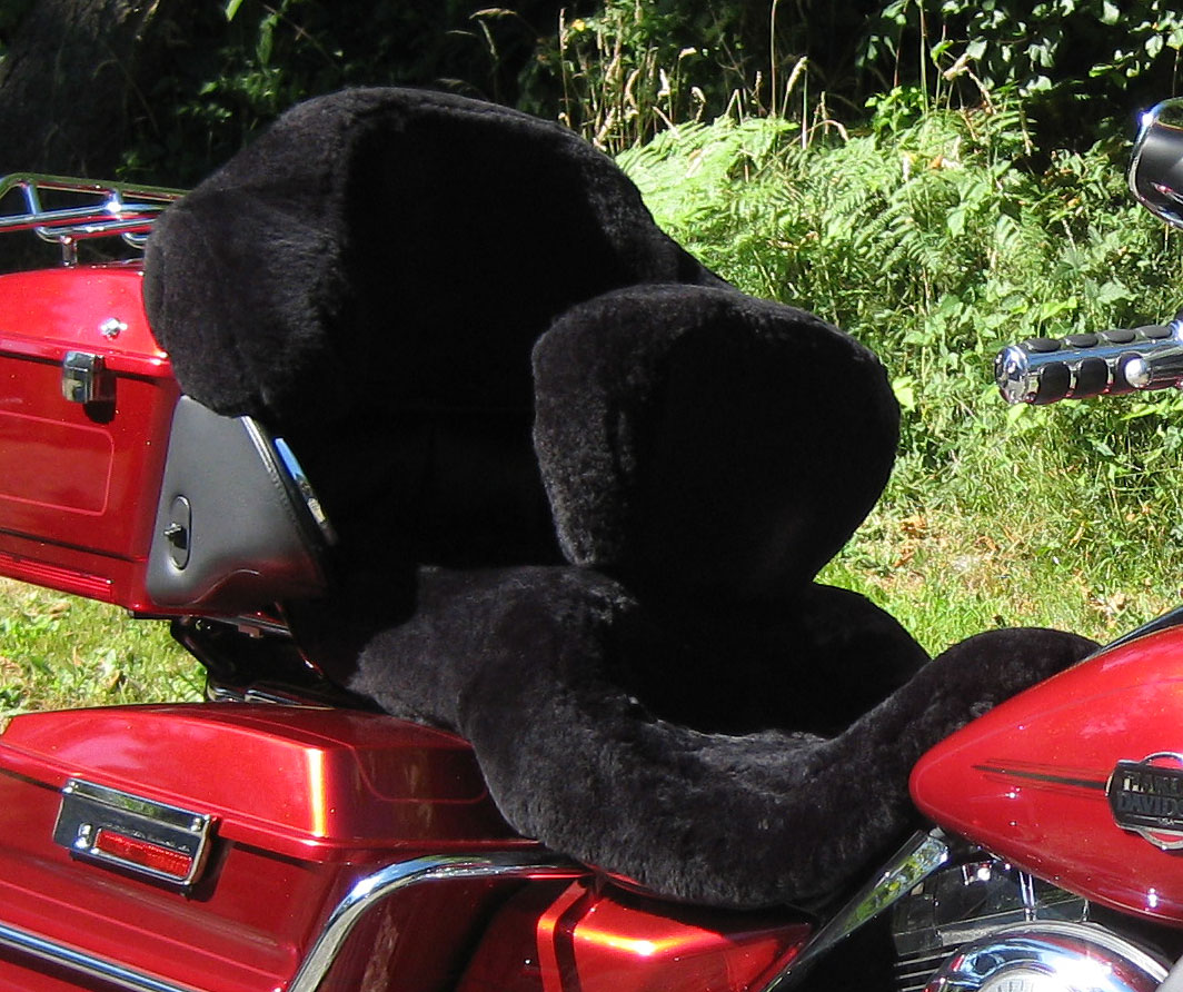 Sheepskin Motorcycle Seat Covers Black