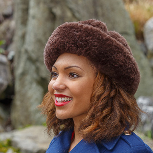 Brown Sheepskin Fur Hat