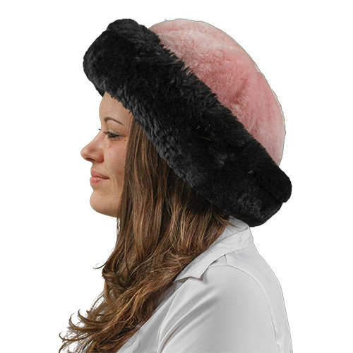 Pink and Black Sheepskin Fur Hat