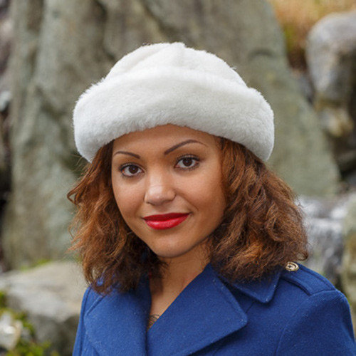 White Sheepskin Hat
