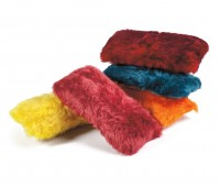 Colorful sheepskin kidney pillows