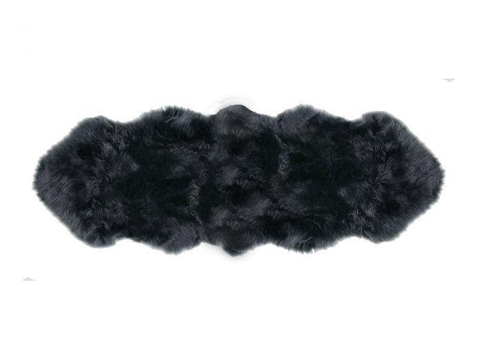 Sheepskin Rug 2 Pelt Steel Gray