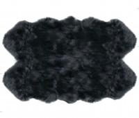Sheepskin Rug 4 Pelt Steel Gray