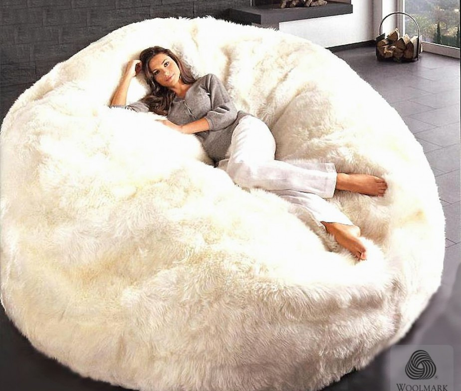 Giant Sheepskin Bean Bag Chair Cover Designer Colors 6