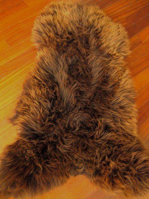 Icelandic Sheepskin Pelt Rug Rusty Brown