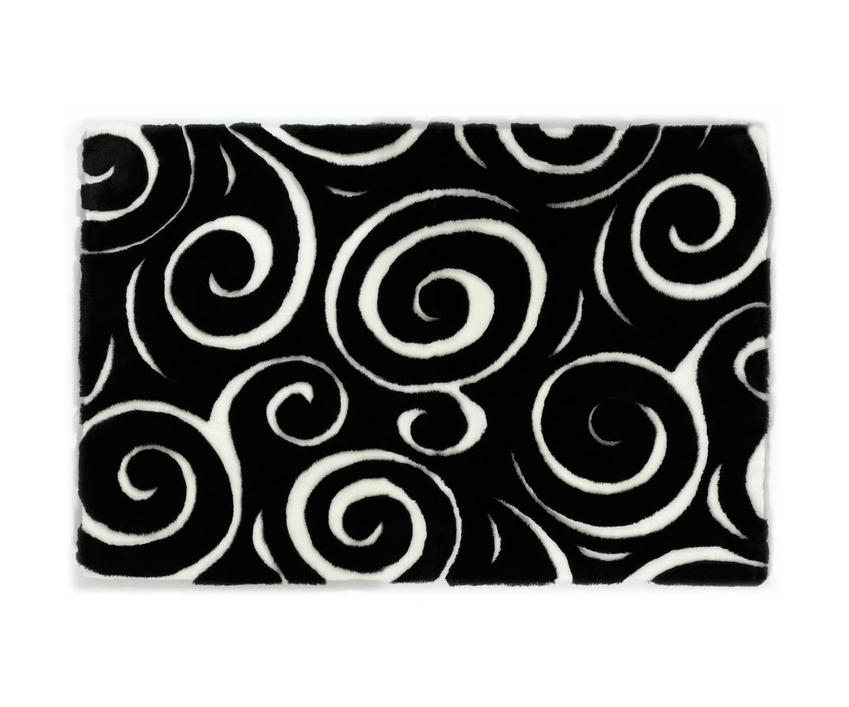 Sherling Designer Rug Boa Black White