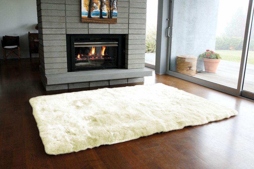 Sheepskin Rug Long Wool Ivory