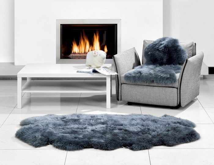 Auskin 2 Plet Steel Gray Sheepskin Rug