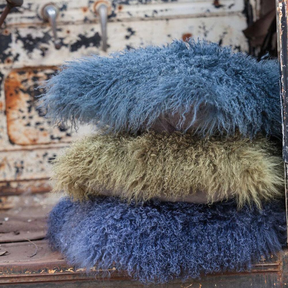 Tibetan Lambskin Curly Fur Throw Pillows Ultimate Sheepskin