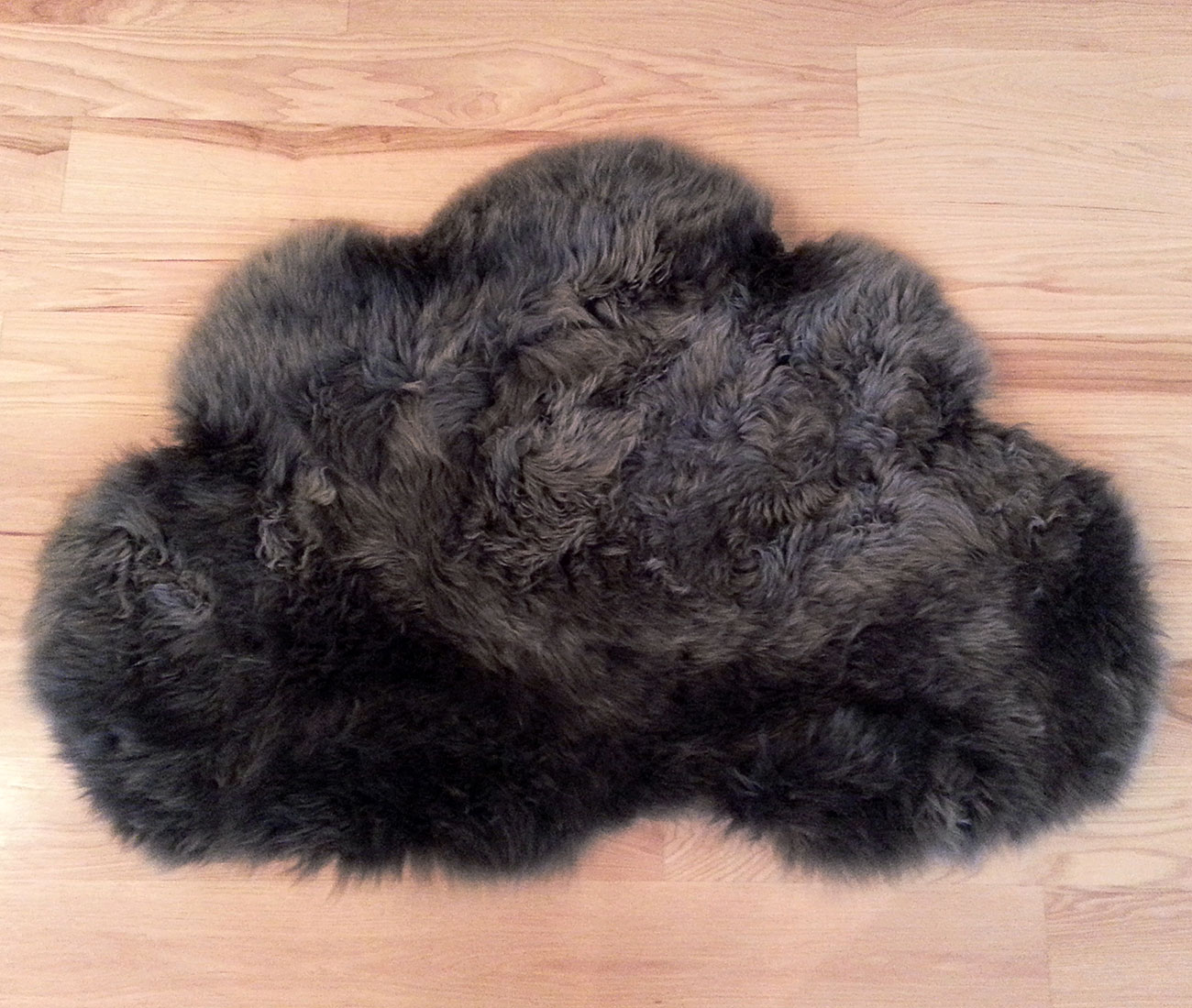 Seattle Storm Clouds Sheepskin Rug Pewter