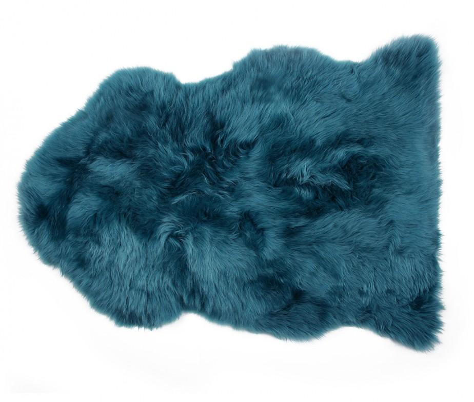 blue green sheepskin rug