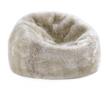 Sheepskin Bean Bag Chair Large Linen Tan Beige 3 Unfilled