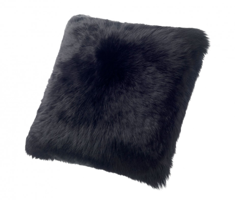 Sheepskin Pillows Large 24? Fur Cushions Black Ultimate Sheepskin