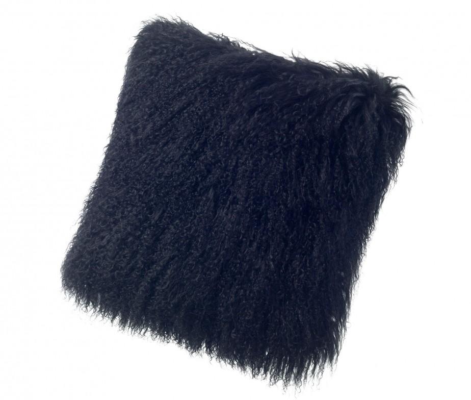 Black Fur Throw Pillows : Tibetan Lambskin Throw Pillows Curly Fur Cushions 16? Square Black Ultimate Sheepskin