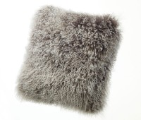 Tibetan Lambskin Curly Fur throw pillows gray