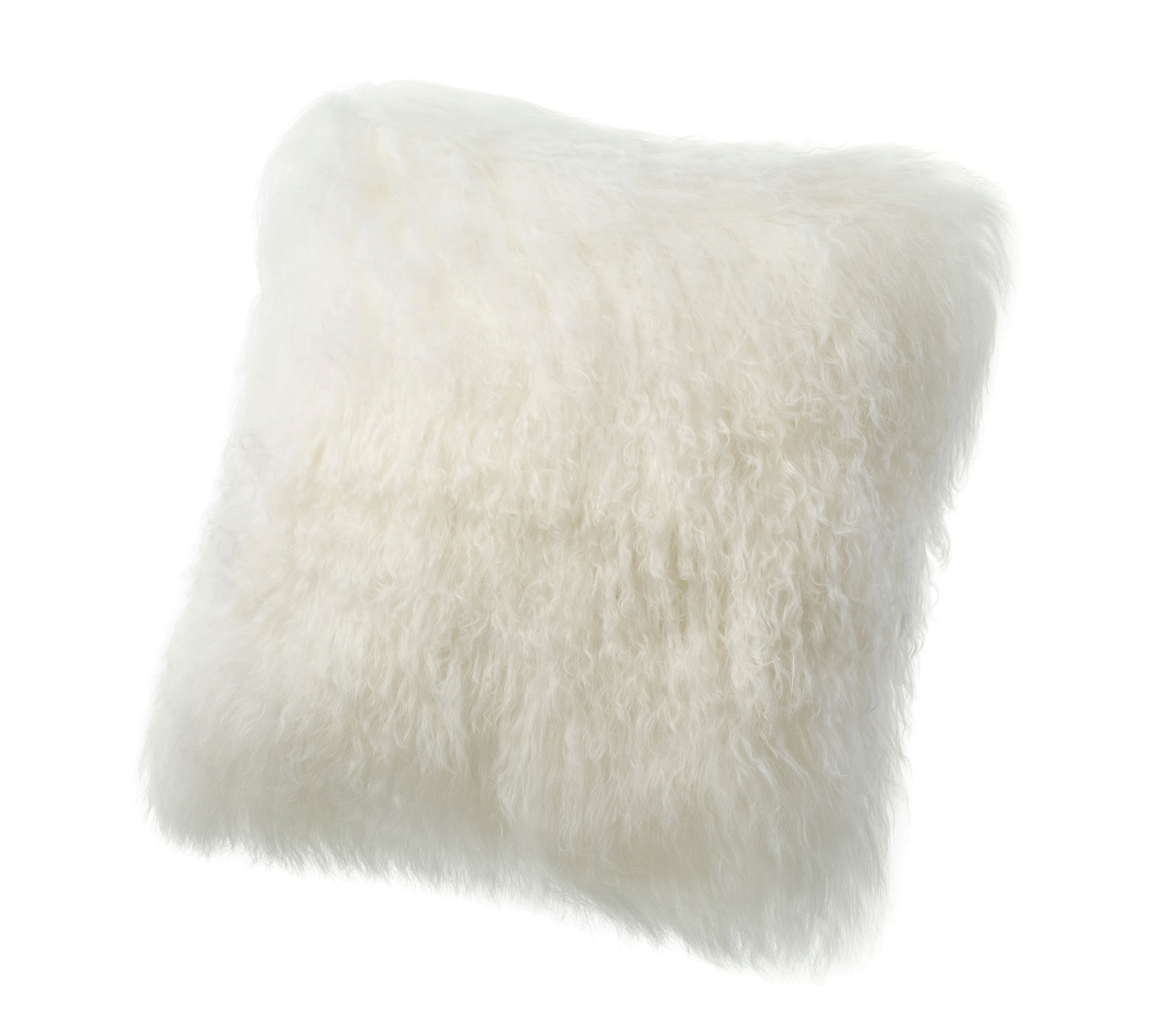 Tibetan Lambskin Curly Fur throw pillows ivory white