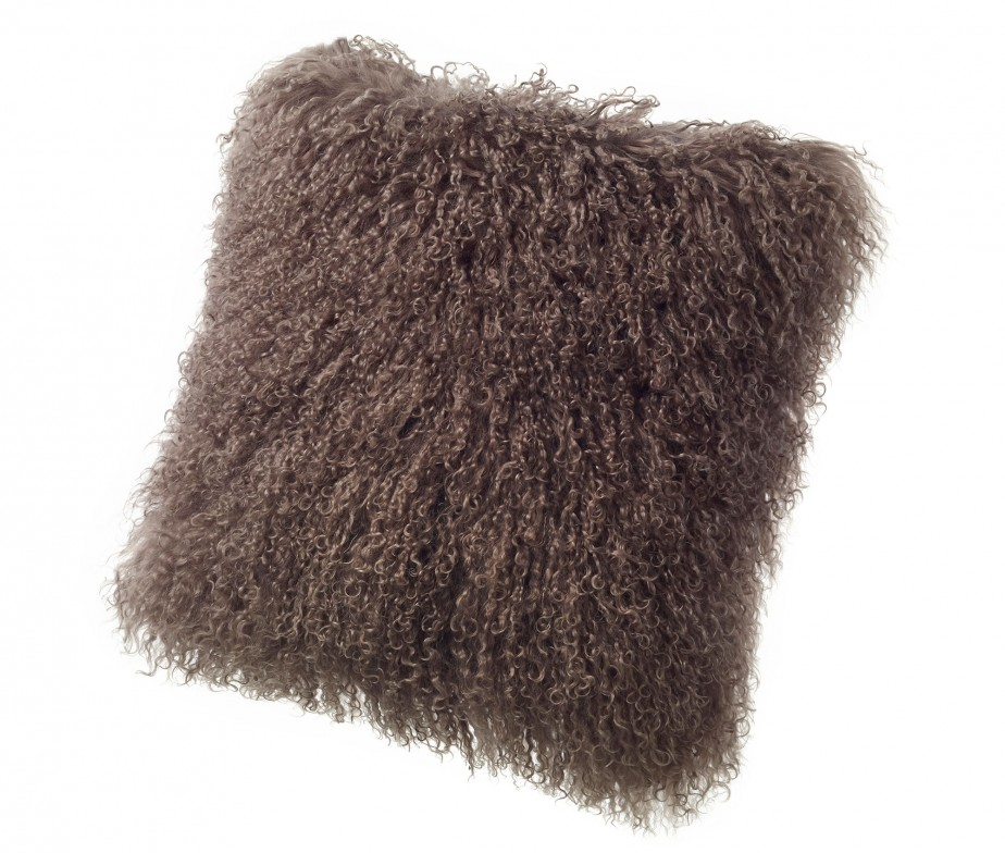 Brown Fur Throw Pillows : Tibetan Lambskin Throw Pillows Curly Fur Cushions 16? Square Brown Ultimate Sheepskin