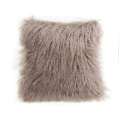 "Tibetan Lambskin 20"" Cushion Tan Birtch"