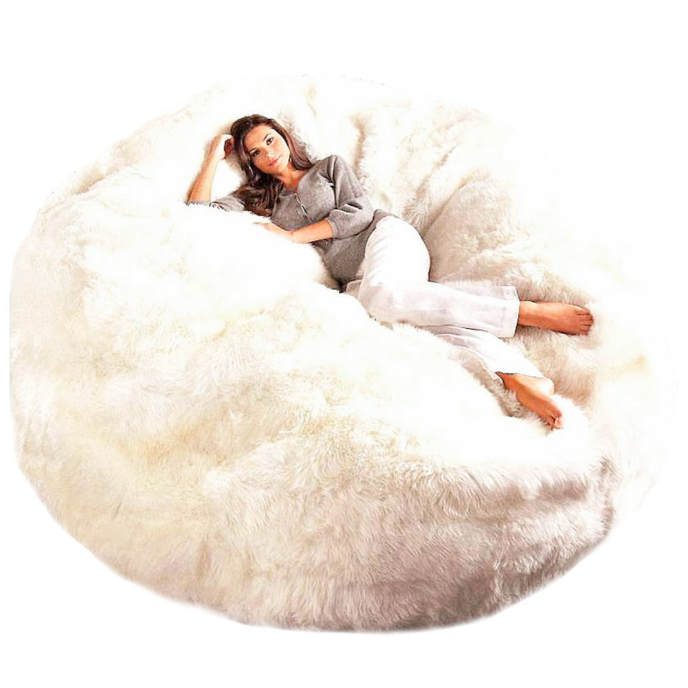 Giant Sheepskin Bean Bag Chair Large Jumbo Fur Bean Bag