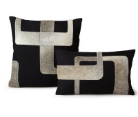 Contemporary black white cowhide cushions