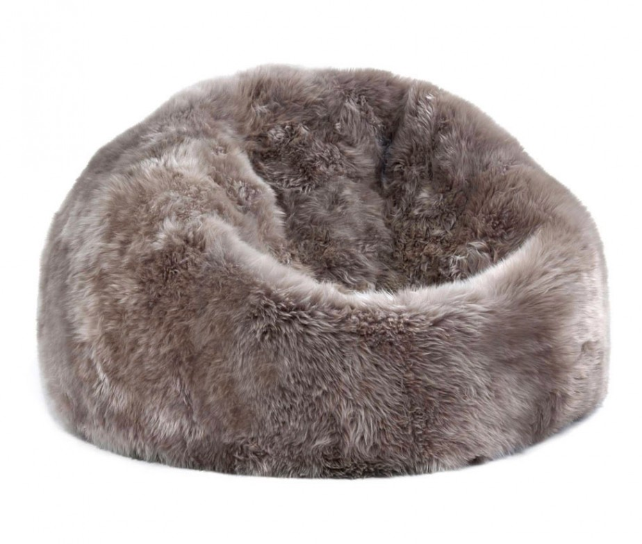 Sheepskin Bean Bag Chair Large Taupe 3u2032 Filled : Ultimate ...
