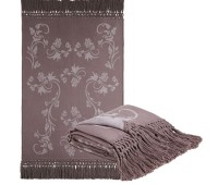 Linen Taupe Vines Fringed Alpaca Throw