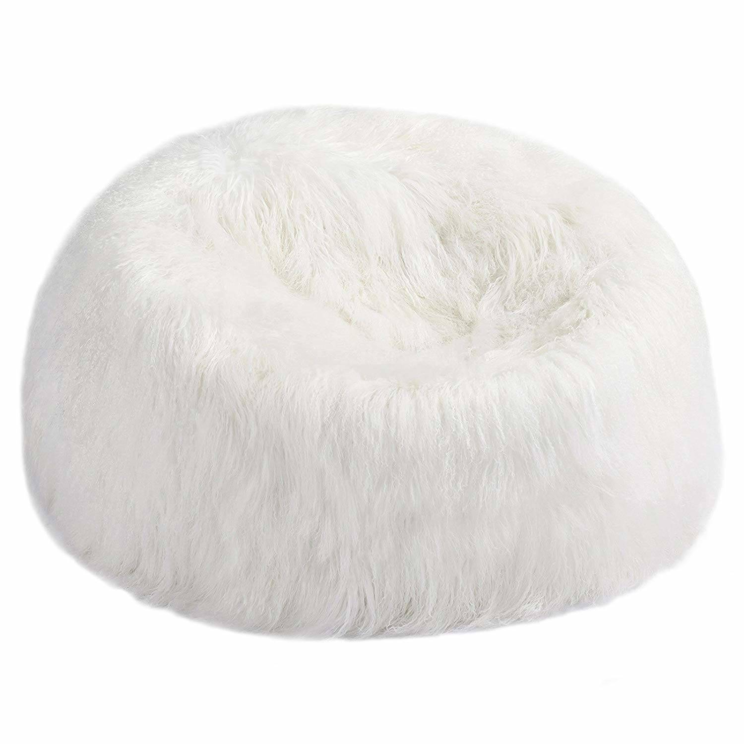 Sheepskin Bean Bag Chair Large Fur Bean Bag Chair White