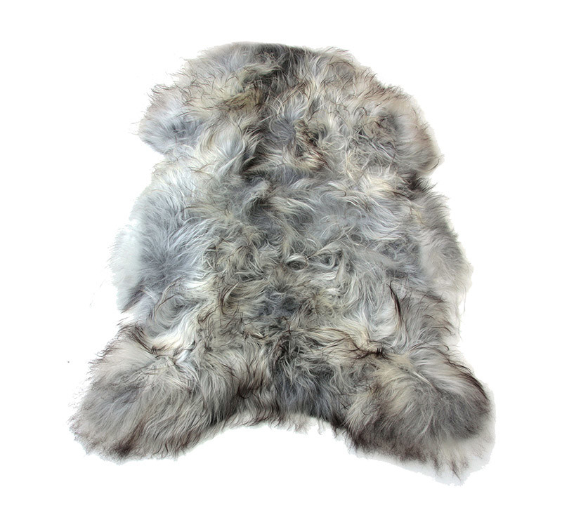 Natural Undyed Gray Icelandic Sheepskin Pelt