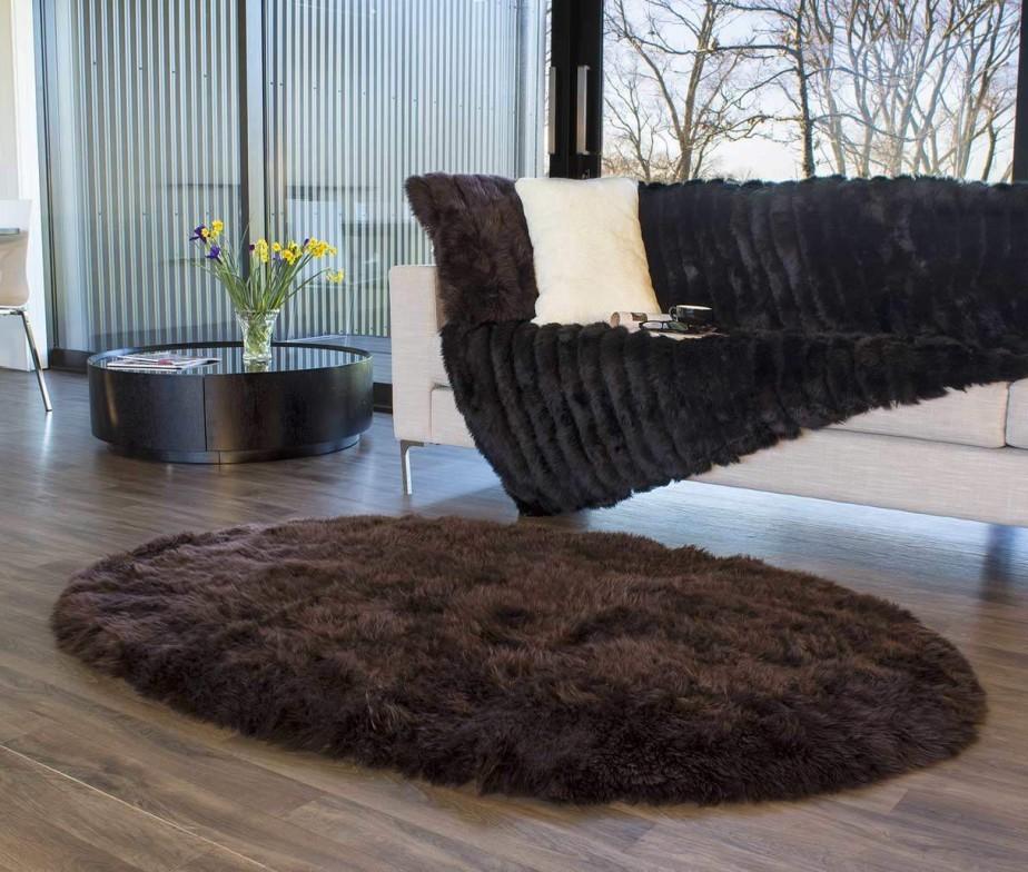 Long Wool Oval Sheepskin Area Rugs Dark Brown