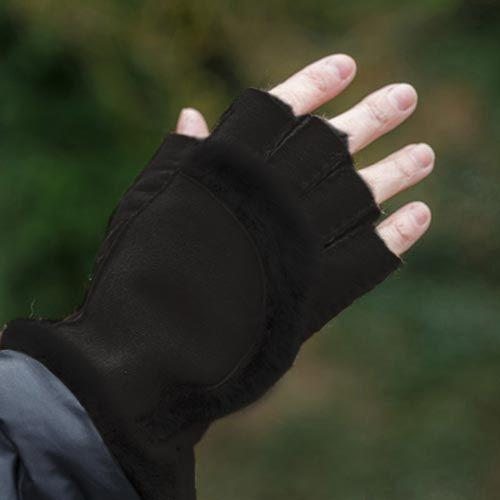 Black Fingertip Sheepskin Gloves