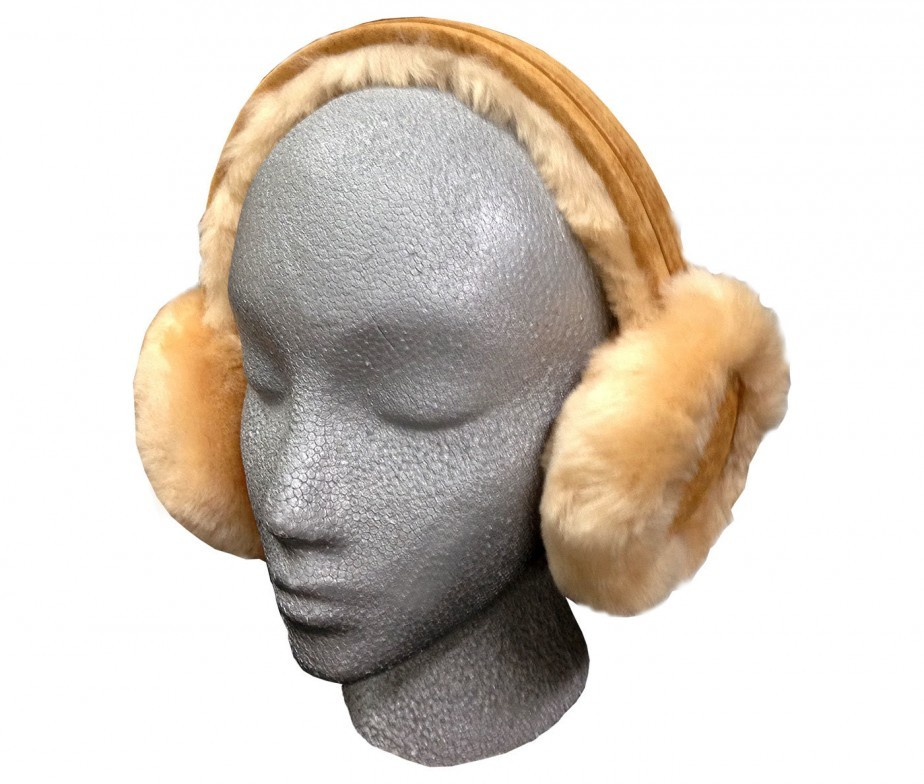 Sheepskin Fur Earmuffs Pink Adjustable Fluffy And Warm