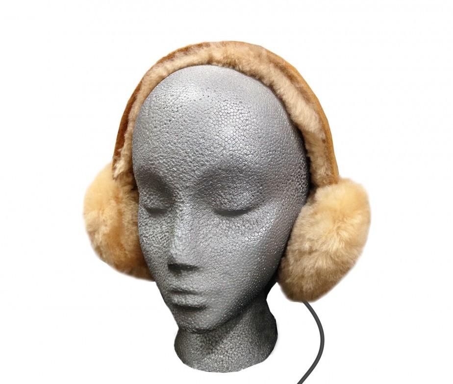 Sheepskin Fur Headphones Audio Earmuffs Pink Adjustable