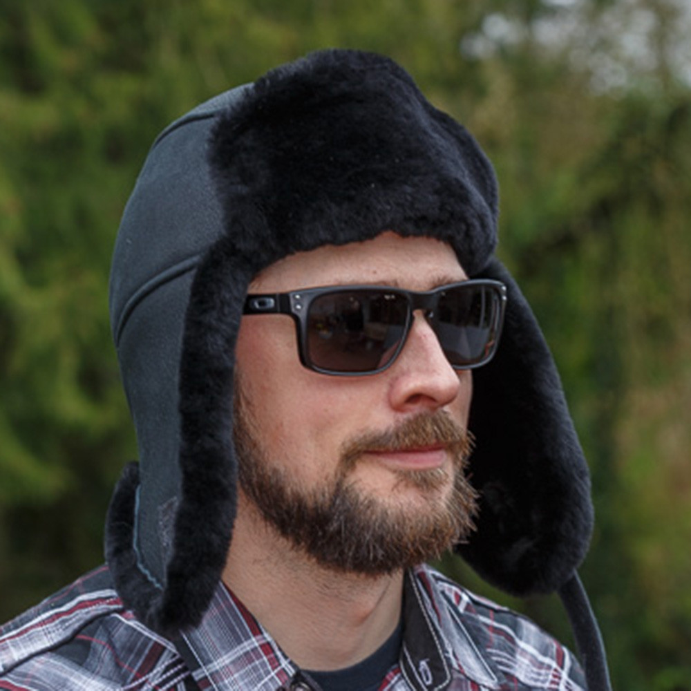 Sheepskin Trouper Hat Black