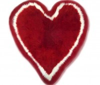 Heart Shaped Red Fur Rug