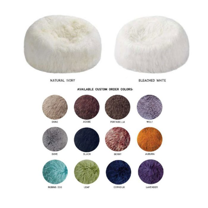 Tibetan Lambskin Curly Fur 3' Bean Bag Chair in Custom Colors