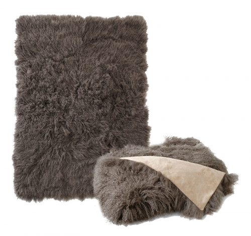 Tibetan Lambskin Throw Portabella