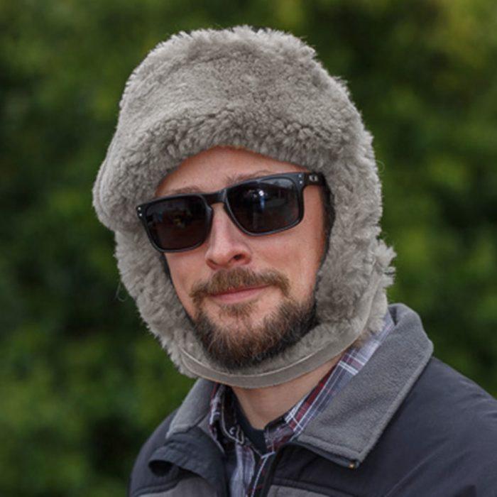 Gray Sheepskin Mountie Fur Hat