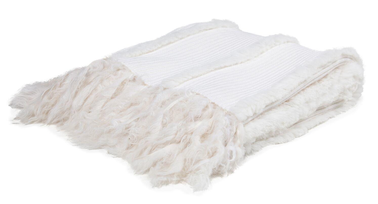 Knitted Wool and Rabbit Fur Throw White