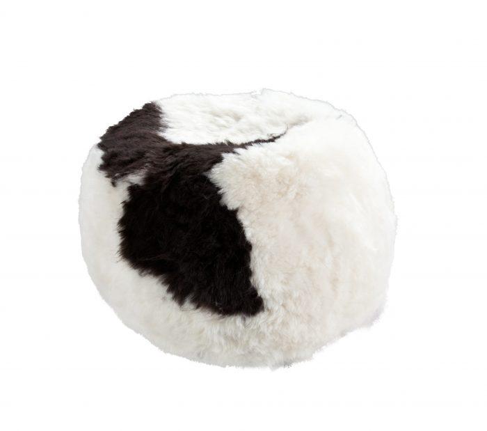 Black White Spotted Pouf Shorn Icelandic Sheepskin