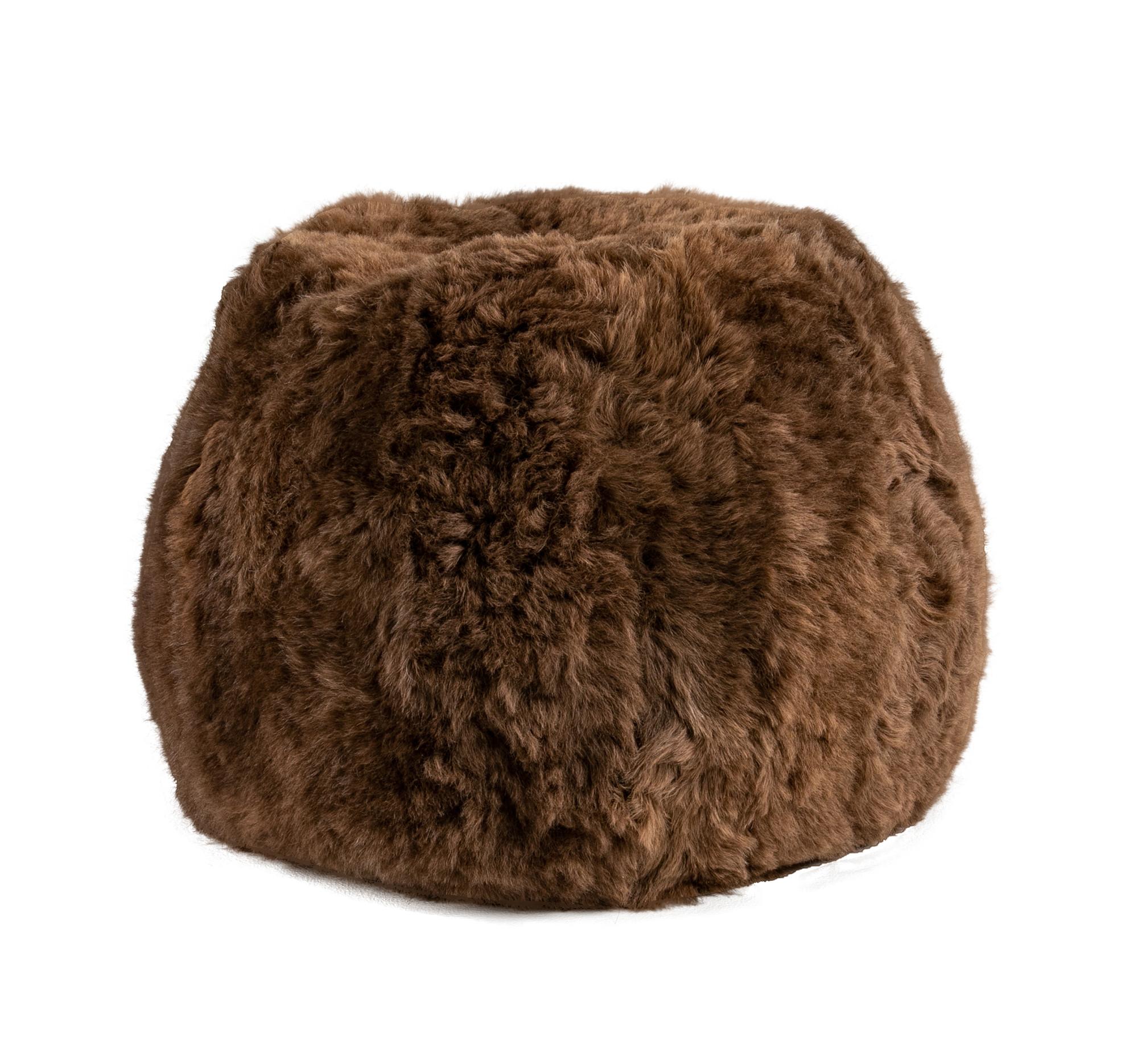 Brown Pouf Shorn Icelandic Sheepskin