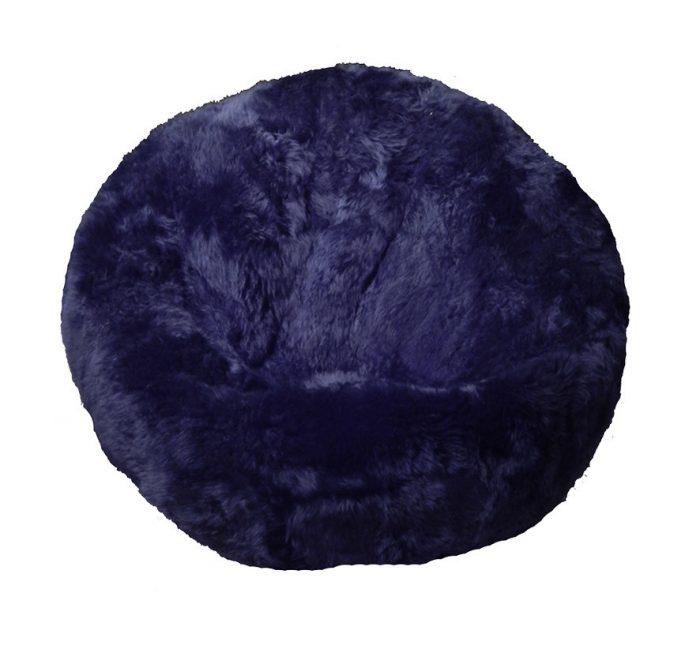 Sheepskin Bean Bag Chair Dark Navy